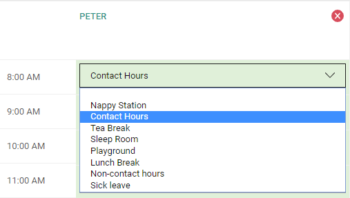 Allocating contact hours