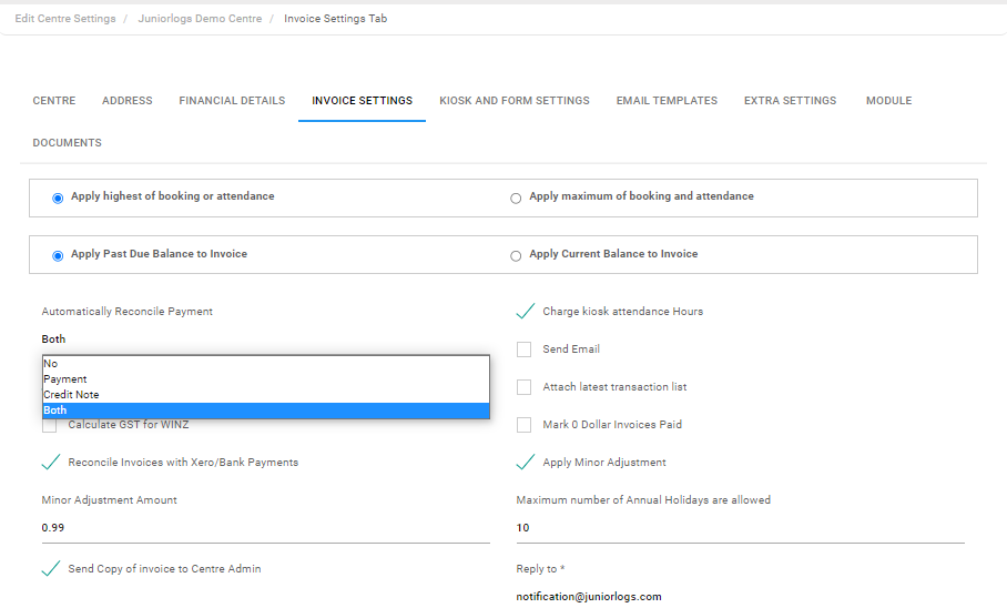 invoice settings - automatically reconcile