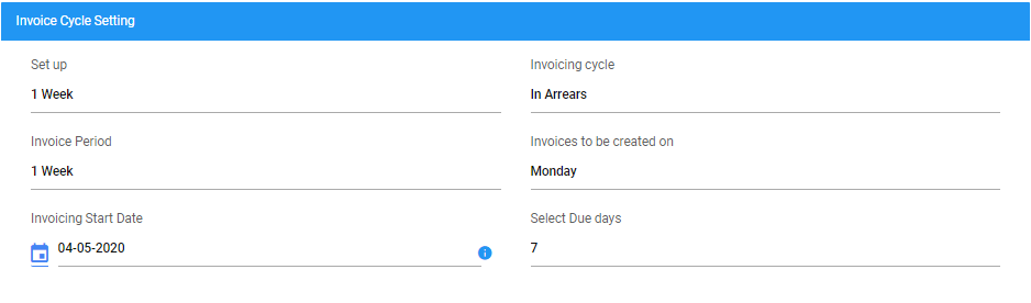 invoice cycle settings
